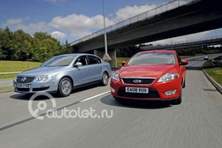 Ford Mondeo, Volkswagen Passat. - Тест-драйв Ford Mondeo Econetic vs. VW Passat Bluemotion